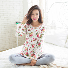 2017 Spring Pyjamas Women Pijamas Mujer Ladies Flower Pattern Pajamas Sets Femme Long Sleeve Sleepwear Female Homewear M~XL(China)