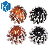M MISM 4 Styles Bright Beads Pearl Hair Claws Rhinestone Ponytail Holder Round Ball Shaped Hairpins Shrinkable Hair Accessories
