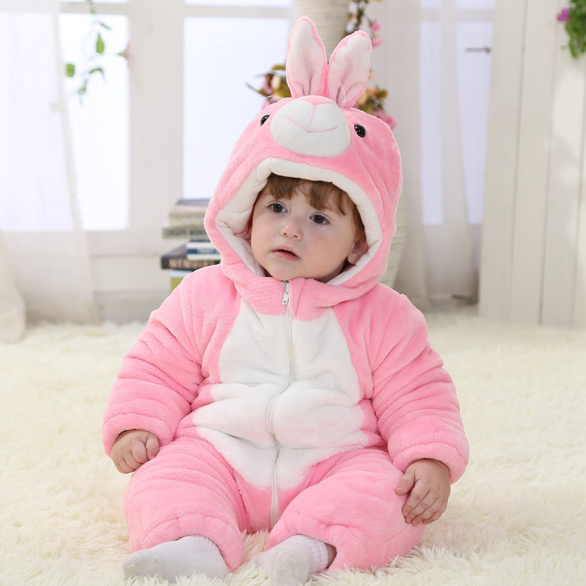 Pink Rabbit Winter Baby Clothes Baby Girl Romper Unisex Christmas Halloween Costume Toddlers Baby Romper 1 &amp; 2 Year Old RL11-15<br>