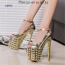 Crossdresser Plus:34-39 Summer Sandals 19/20cm thin high heels Female Shoes Gold/Sliver Platform Women Ankle strap party Pumps