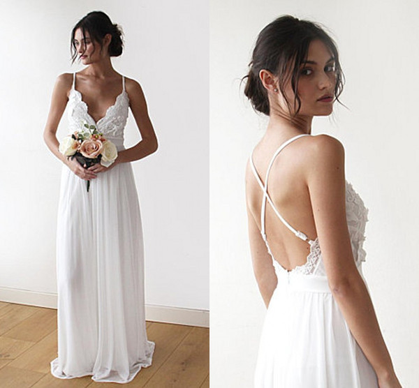 2019 Newest Boho Simple Wedding Dresses Lace Chiffon Floor Length Backless Bridal Dresses Beach Bohemian Bridal Gown Sexy X-Back