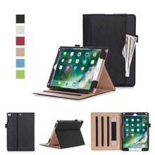 Dulcii For i Pad 9.7 (2017) / Air 2 / Air Pure Color Business Style Folio Leather Wallet Stand Cover - 9.7 inch