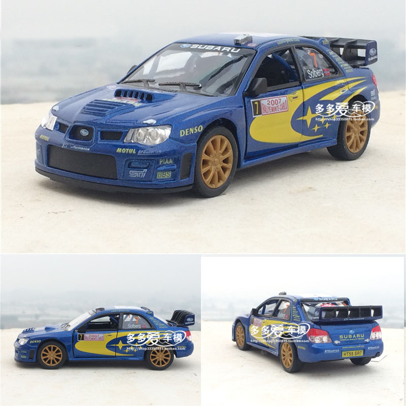 New KiNSMART 1/36 Scale Car Model Toys Subaru Impreza WRC 2007 Racing Car Diecast Metal Pull Back Car Model Toy For Kids Gift(China (Mainland))