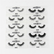 3D Mink Eyelashes Natural Extension Long Cross Thick Mink Lashes Handmade Eye Lashes A01-A19 (blank box available)(China)