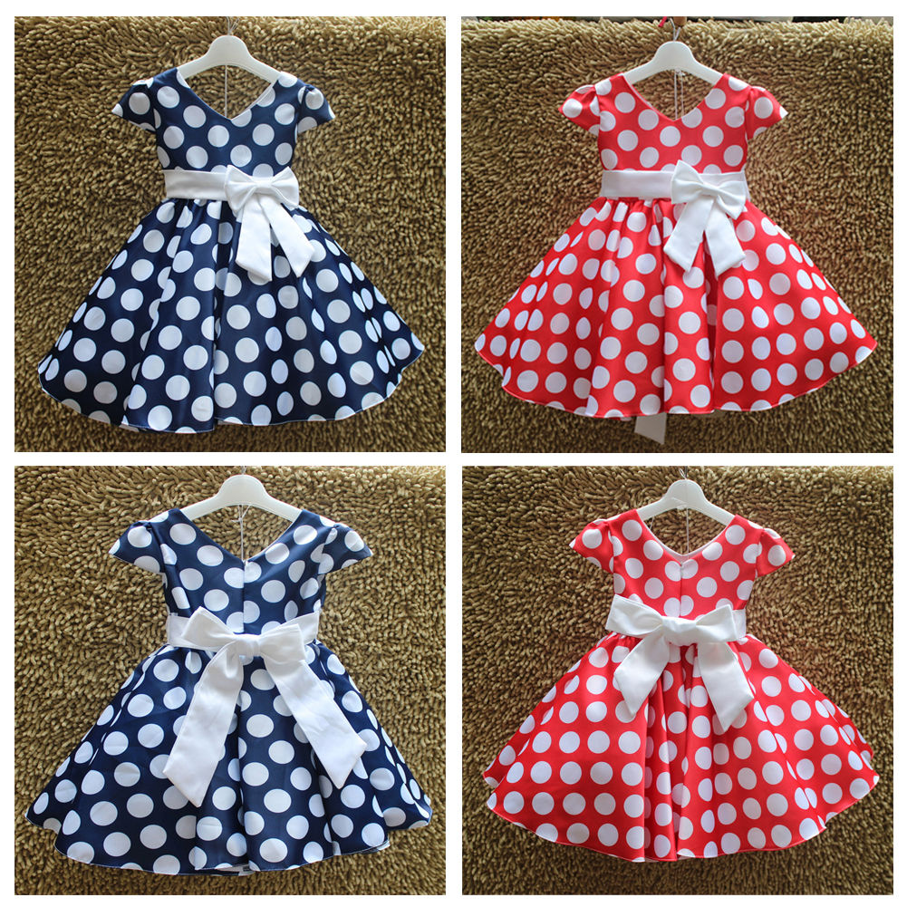 Baby Kids Girls Princess Party Polka Dot Bow Sleeveless Gown Formal Dress 3-9Y<br><br>Aliexpress