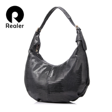 REALER New design handbag genuine Leather bag female Fashion animal pattern Hobo bags High Quality Women Tote Bag