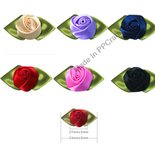 53-27MM Satin Ribbon Bud Rose Flower For Wedding Packing Cloth Hairbow DIY Crafts 100pcs Free Shipping