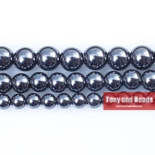 "Free Shipping Natural Stone Black Hematite Beads 4 6 8 10 MM 15"" Per Strand Pick Size For Jewelry Making No.HB15"