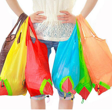 10Pcs Foldable Strawberry Shopping Bag Home Portable Recycling Use Bag Strong Nylon Cloth Handbag Different Colors