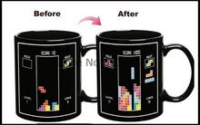 Free shipping 48pcs/lot Tetris Color Changing Mug Cup Temperature Changing Wholesale