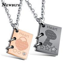 "NEWBUY Brand Classic Design ""LOVE Story"" Heart Lock&Key Pendant Necklace For Lovers Stainless Steel Link Chain Promise Necklace"