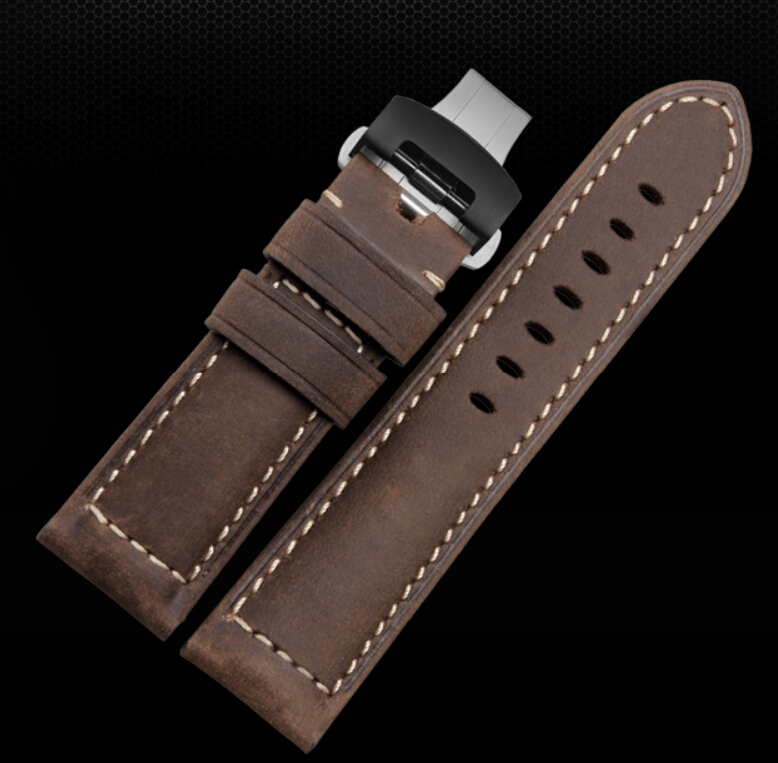 Watch Strap 24mm Brown Mens Belt Genuine Calf Leather Watchbands Strap for PAM00441 111<br>