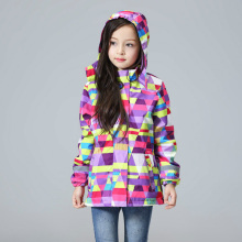New autumn children clothing girls clothes geometric printed coat kids hooded brand jackets waterproof girl blazer 3-12Y(China)