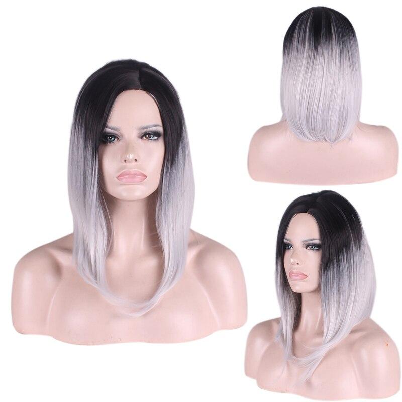 Fashion Charm Women High Quality Gradient BoB Wigs Black Mixed Gray Short Two Tone Gradient Wig Free wig cap<br><br>Aliexpress