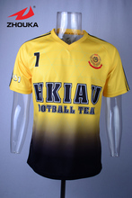 2016 Thai quality full sublimation custom soccer jersey yellow football uniform(China)