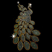 New Yellow  Peacock crystal stone hot fix rhinestone transfer designs stra ss iron on motifs for t shirt dance dress cloth SS56