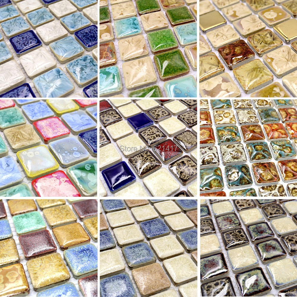 Porcelain mosaic floor tile