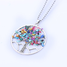 Women's Fashion Natural Stone Chip Tree Pendant Necklace Jewelry Tiger eye Colorful Choker Necklaces With Bead Chain
