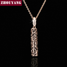 ZHOUYANG Top Quality ZYN338 Noble Fashion Rose Gold Color Fashion Pendant Jewelry Made with Austria Crystal Wholesale(China)