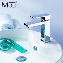 Luxury solid brass faucet single handle chromed water mixer tap for bathroom basin sink deck mounted square faucet