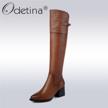 Odetina 2017 New Genuine Leather Womens Knee High Equestrian Riding Boots Buckle Pointed Toe Long Boots Chunky Heel Winter Shoes(China)