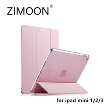 ZIMOON New Case For Apple iPad mini 1/2/3 Ultra Slim Tri-fold PU Leather Smart Cover With Transparent Hard Back(China)