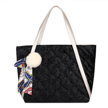 Big Velvet Shoulder Bags Female Winter Soft Diamond Lattice Large Capacity Tote Women Quilted Handbags Zamsz Torebka Pikowana(China)