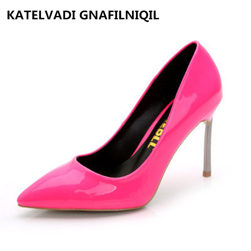 New womens shoes stiletto metal heels sexy pointed toe women pumps girls shoes,hot pink high heels wedding bridal shoes 42<br>