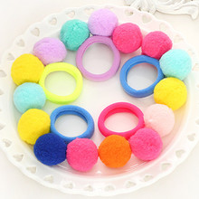 5 Pcs/lot Candy Color Pom Balls Girls' Elastic Hair Ties Kids Hair Ropes Accessories