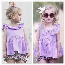 new summer ins baby girls lavender color dress ruffle collar toddler kids princess dresses girls clothing vestido
