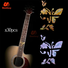 30Pcs Nice Guitar Fret Marker For Acoustic Electric Guitarra Neck Finger board Inlays Stickers with  Pretty Butterfly Shape Gold