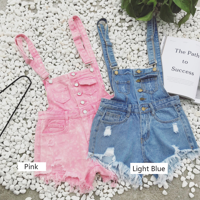 2018 new Korean college wind age denim strap shorts female wild thin students hole suspenders tide (9)