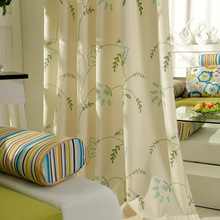 White Green, Red And Green Elves, The Elves Of Blues Curtain Cloth Cotton Fairy Pastoral Embroidery Curtains 3d Cortinas(China)