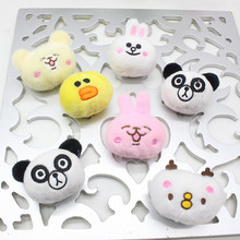 50pcs DIY plush cartoon animal heads,teddy bear chicken rabbit panda for party decorations handwork accessories of cloth hairpin