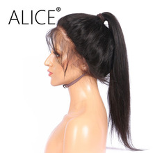 ALICE 360 Lace Front Wig With Baby Hair Remy Silky Straight Glueless Brazilian Human Hair 360 Wigs For Black Women 10-22 Inch(China)