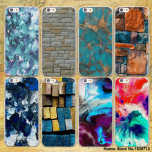 Turquoise Stone marble Background design hard clear Cases cover for Apple iPhone 7 6 6s Plus SE 5 5s plastic phone case(China)