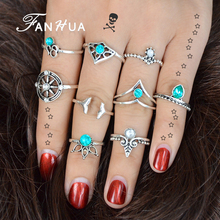 FANHUA 9 pcs/set Bohemia Silver Color Knuckle Rings Set Geometric Pattern Jewelry Blue Rhinestone Rings Accessories For Women