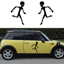2 X Classic Cute Alien Runs Fine Art of Silhouette Funny Car Stickers for Wall Truck RV Door Side Window Vinyl Decal 9 Colors
