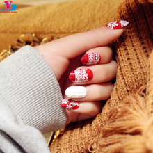 New Snow Flower Pre Design Fake Nails Unhas Artificiais Full False Nail Art Tips Gel Press On Manicure Christmas Decorations Set