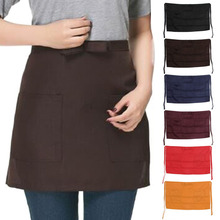 6 Colors Bar Pub Kitchen Cotton Bow Short Half Waist Apron Cafe Server Waiter Waitress Kitchen Little Tools