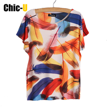 women t shirt cotton harajuku tumblr summer 3D print colorful feather tee shirt femme top short sleeve poleras de mujer big size