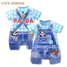 Baby Boys Clothes 2017 New Summer Baby Girl Rompers Hello Kitty Cat Panda Dot Strap Short-sleeved One Pieces Jumpsuit Clothing