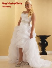 Organza Top Selling Ruched High Low Bridal Gowns With Beading Short Front Long Back Wedding Dress Sweetheart