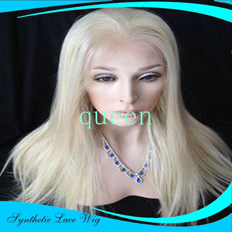 blonde perruque Silver White Lace Front Wig Synthetic Heat Resistant Long White Straight Wig ombre wigs Cosplay White Wig<br><br>Aliexpress