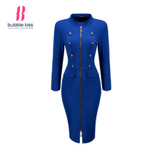 Office Bodycon Dress Woman Solid Zipper Stand Collar Double Breasted Design pencil midi Dresses New Autumn Winter Formal Dress