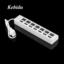 Kebidu 7 PORT USB 2.0 HUB High Speed Power Cable with LED Light Indicator ON/OFF Sharing Switch Adapter For PC Desktop Laptop(China)