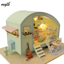 mylb Doll house furniture miniatura diy doll houses miniature dollhouse wooden handmade toys for children birthday gift