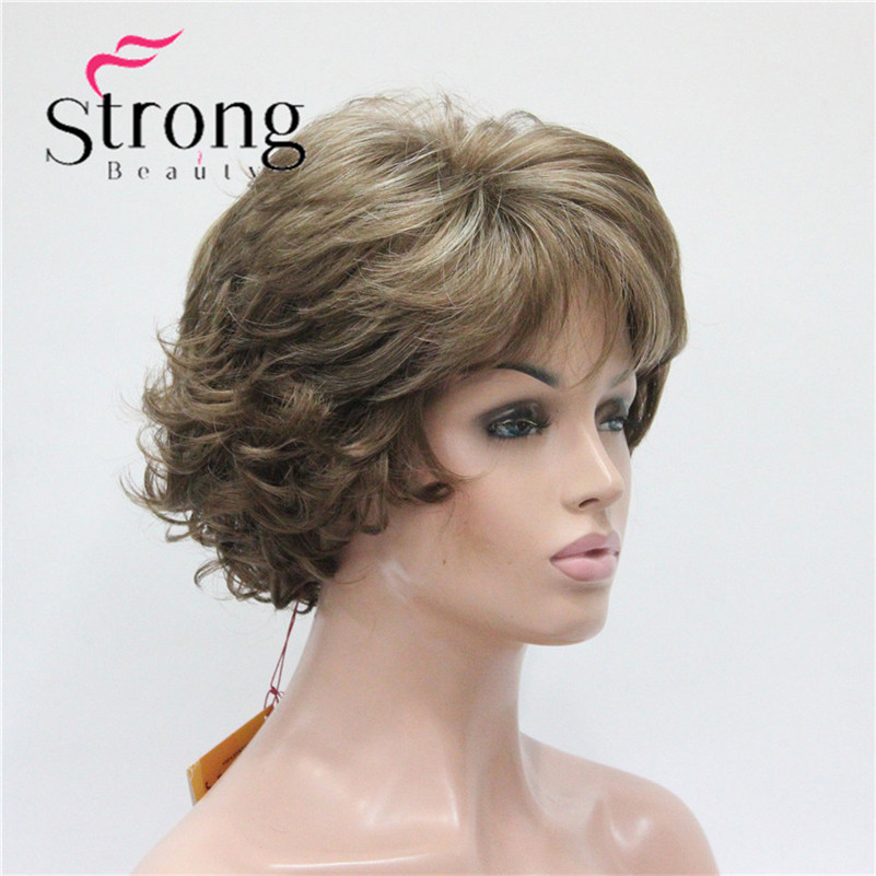 E-7125 #12TT26 New Wavy Curly Wig Light Brown Mix Blonde Short Synthetic Hair Full Women's Wigs (3)
