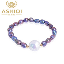 ASHIQI Genuine Natural Black Baroque Freshwater Pearl 12-13mm Button Pearl Bracelets women with 925 Sterling Silver Bead(China)