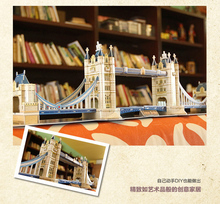120pcs World's Great Architecture UK London Classic Building Tower Bridge DIY 3D Puzzle Cubic Fun 76cm Model MC066h